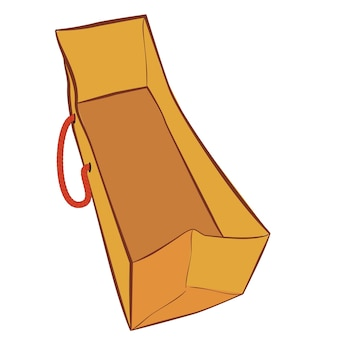 Simple vector brown hand draw sketch of paper bag with red rope for mock up, isolated on white