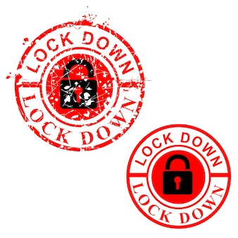 Simple vector cirle red grunge rubber stamp, lock down, isolated on white