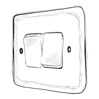 Simple vector doodle hand draw sketch on off electricity switch
