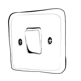 電気スイッチをオフにしたシンプルなベクトル落書き手描きスケッチ
