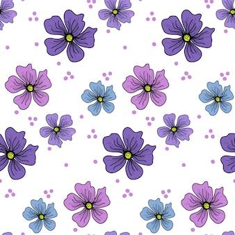 単純なベクトル花のシームレスパターン