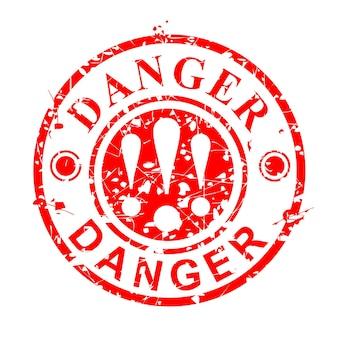 Простой вектор гранж круг красный резиновый штамп, опасность, изолированные на белом