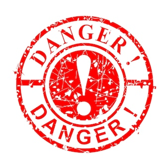 Simple vector grunge circle red rubber stamp, danger, isolated on white