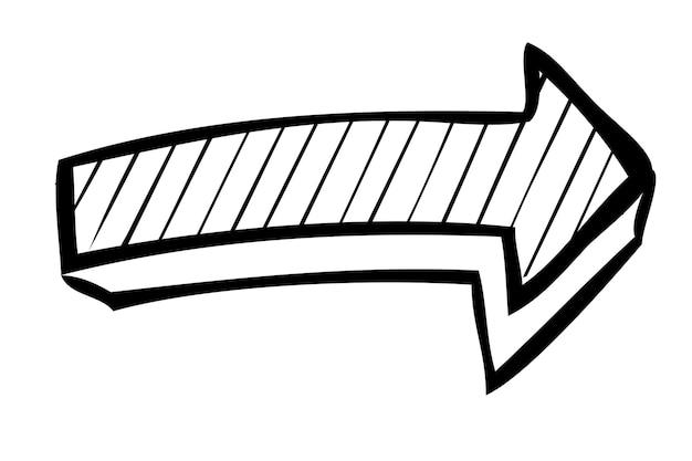 シンプルなベクトル手描きスケッチ、矢印、白で隔離