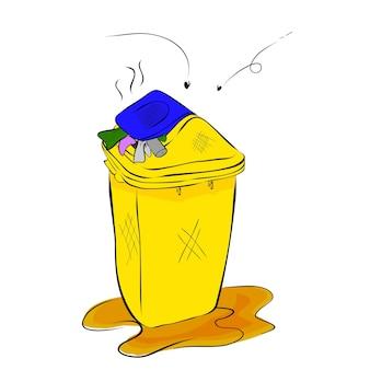 シンプルなベクトル手描きスケッチ、白い背景で廃棄物で満たされた汚れた黄色と青のビン