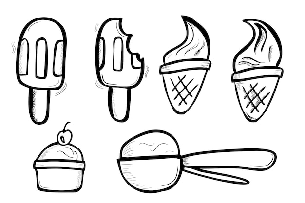 Simple vector hand draw sketch doodle, ice cream cone, stick, cup and spoon isolated on white
