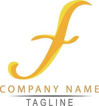 シンプルなベクトル手描きスケッチフラットカラー黄色とオレンジ色のロゴスクリプトf、クラシックエレガンスコーポレート、ホワイト