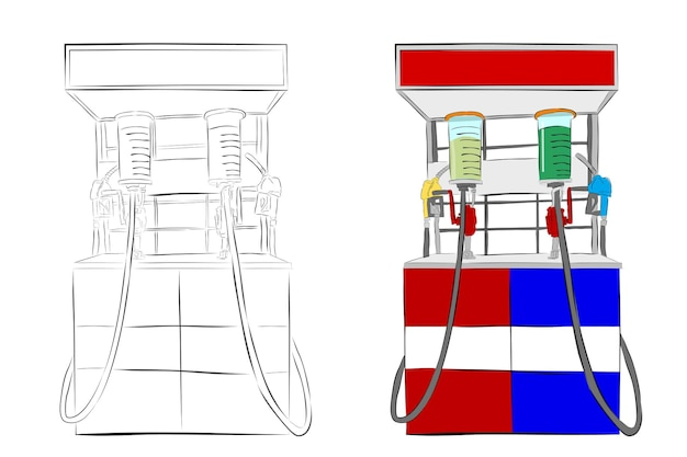 Simple vector hand draw sketch, indonesia mini fuel dispenser or usually called pertamini, isolated on white