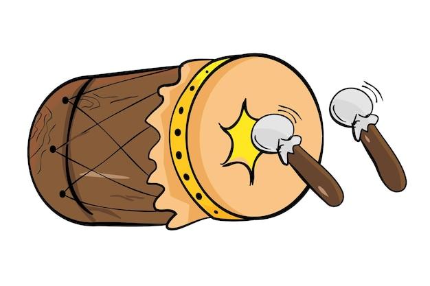 간단한 벡터 손으로 베두크 또는 베둑의 스케치를 그리고 인도네시아 전통 드럼을 스틱