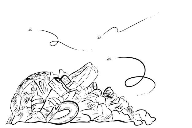 シンプルなベクトル手描きスケッチ、ゴミ箱