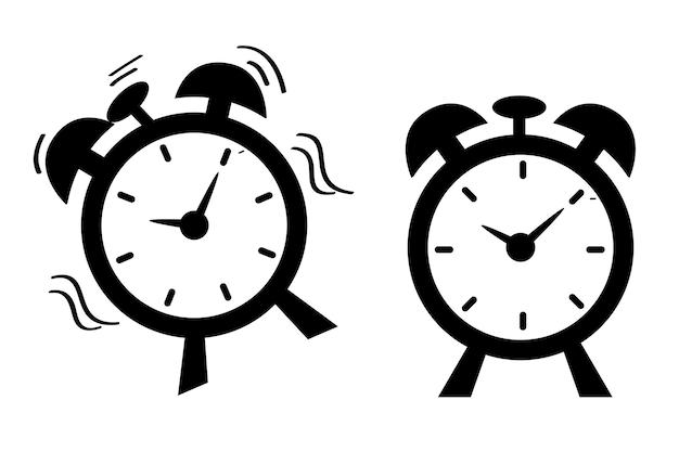 シンプルなベクトルアイコン、2つの目覚まし時計、衝撃的な手を振って、まだ目覚まし時計
