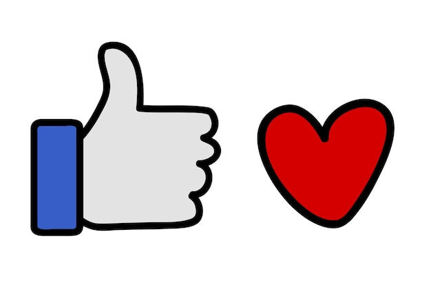 Simple vector icon, thumb up and like or love