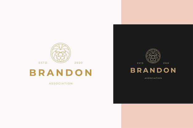 Simple vector illustration of elegant outline emblem template with geometric lion head line style