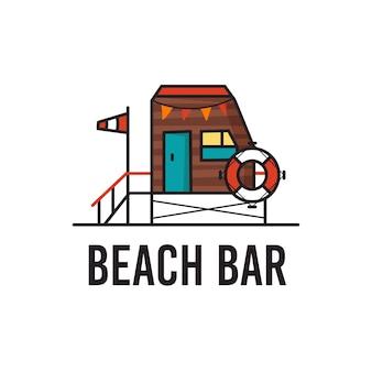 Простая векторная иллюстрация набросков графического шаблона эмблемы пляжного бара с надписью для печатных дизайнов на белом фоне
