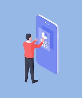 青い背景に分離された最新のアプリを使用してグラフから統計を修正するスマートフォンを持つ正式な男性従業員の単純なベクトル画像