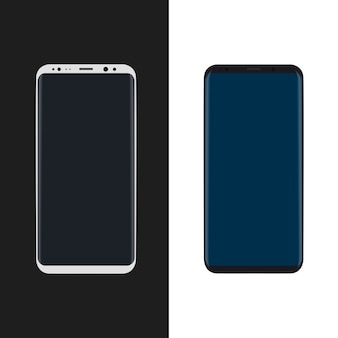 Simple Vector Mock-up Of New Smartphone Black and White