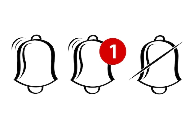 간단한 벡터 개요, 아이콘 또는 로고, 벨, 반지, 경고, 알림, 흰색 절연