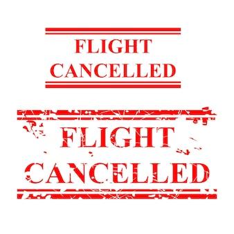 Простой векторной прямоугольник гранж красный резиновый штамп, рейс отменен, изолированный на белом