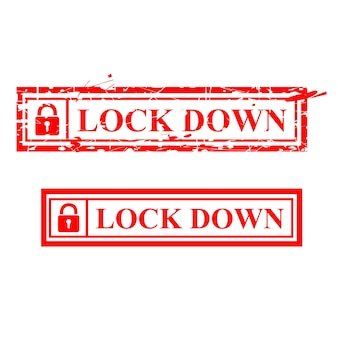 Simple vector red grunge rubber stamp, lock down, isolated on white