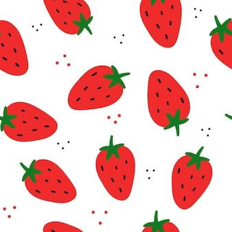 Simple vector seamless pattern strawberry on white background doodle flat drawn textures