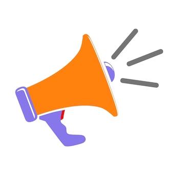 シンプルなベクトル記号、オレンジ色の青と赤の拡声器、白で隔離