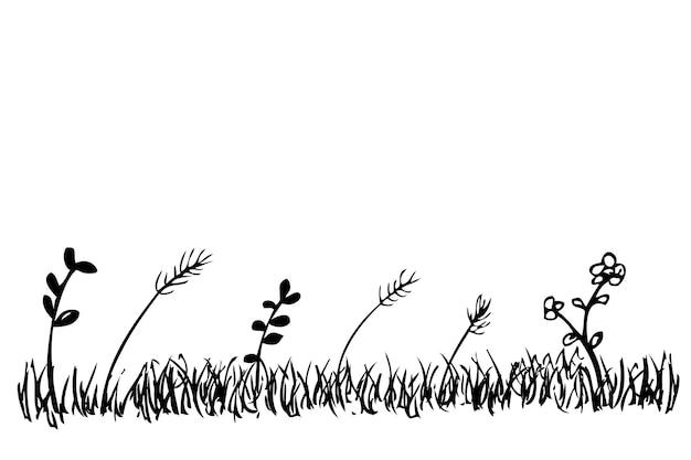 간단한 벡터 실루엣 손 그리기 스케치 잔디, 잡초와 야생 꽃