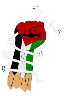 Simple vector sketch punching or fisting hand with broken rope and barbed wire, palestine flag