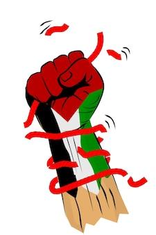 壊れたロープと有刺鉄線、パレスチナの旗とシンプルなベクトルスケッチパンチまたはフィスティング手