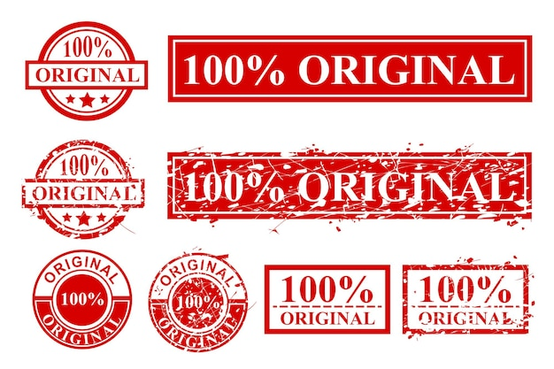 シンプルなベクトルさまざまなスタイルの赤いゴム印、100%オリジナル、円と長方形が白で隔離