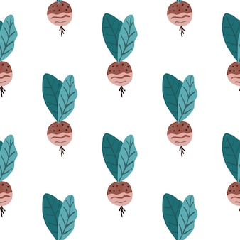 Simple vegetable seamless pattern with radish. maroon vegan food with turquoise leaves on white background.