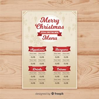 Simple vintage christmas menu template