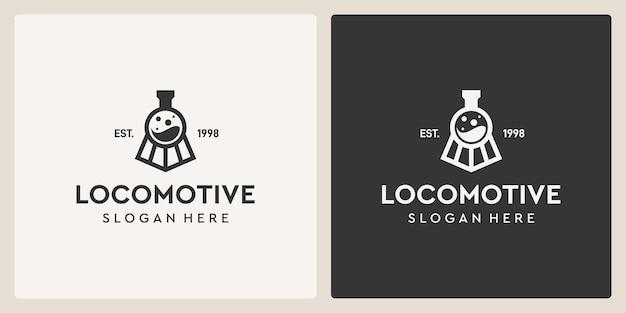 Simple vintage old locomotive train and laboratory logo design template.