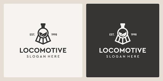 Simple vintage old locomotive train and leaf logo design template.