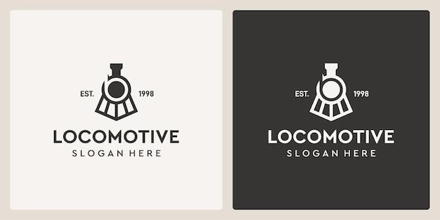 Simple vintage old locomotive train and letter b logo design template.
