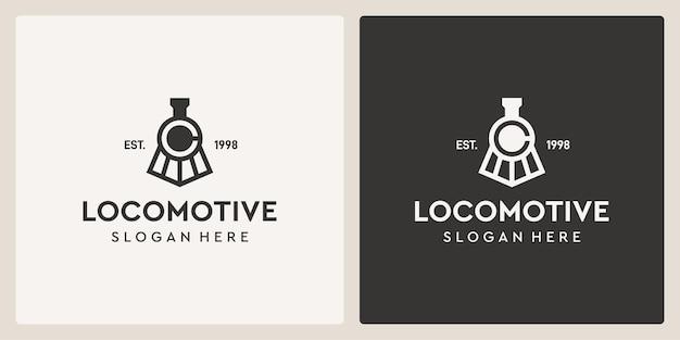 Simple vintage old locomotive train and letter c logo design template.