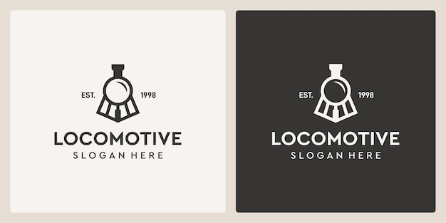 Simple vintage old locomotive train and magnifying glass logo design template.