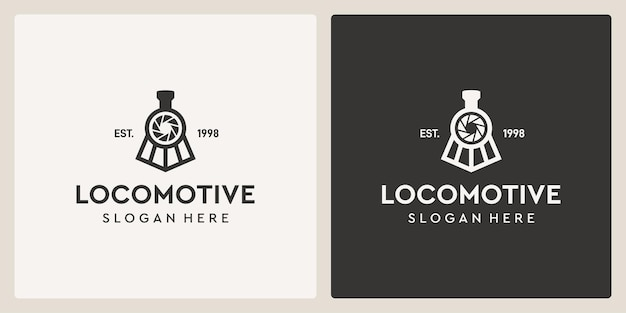Simple vintage old locomotive train and photography logo design template.