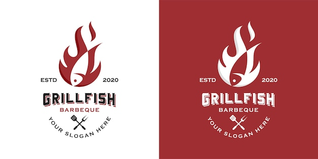 Simple vintage western grilled fish logo design inspiration template