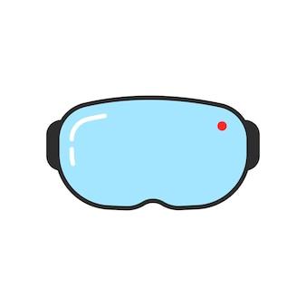 シンプルなvrメガネのアイコン。サイバーパンク、イリュージョン、未来的なスクリーン、ハイテク、立体視機器、インタラクティブのコンセプト。フラットスタイルのトレンドモダンなロゴデザインベクトルイラスト白地に