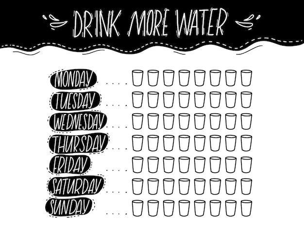 매일 8잔의 간단한 물 추적기. 흑백 손으로 쓴 텍스트, 인쇄 가능한 저널 페이지. 더 많은 물을 마시십시오. 동기 부여 견적. 건강한 습관 체크리스트.