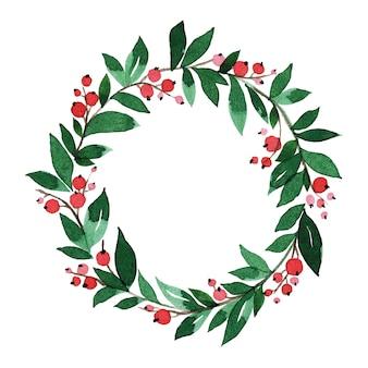 Simple watercolor christmas wreath