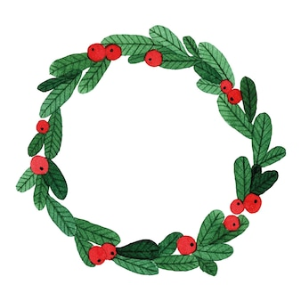 Simple watercolor drawing wreath of green spruce branches and red berries