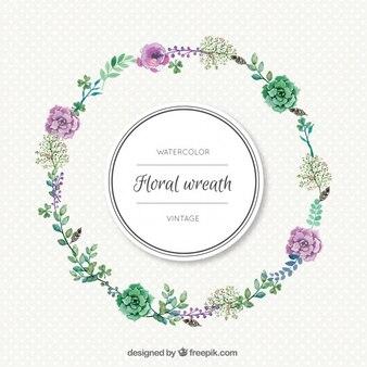 Simple watercolor floral wreath