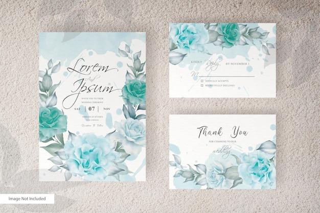 Шаблон простой акварельной свадебной открытки с цветочным рисунком и листьями