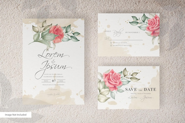 Simple watercolor wedding card template set with floral and leaves
