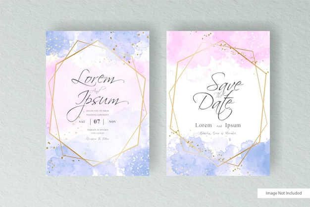 Simple watercolor wedding invitation card template with hand painted liquid watercolor and abstract watercolor splash design