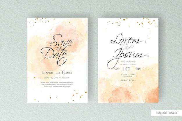 手描きの液体水彩と抽象的な水彩スプラッシュデザインのシンプルな水彩結婚式の招待カードテンプレート