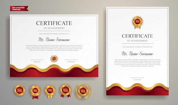 Simple wave certificate in red and gold color with gold badge and border template