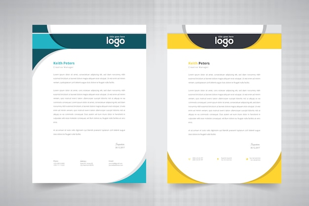 Simple wave letterhead