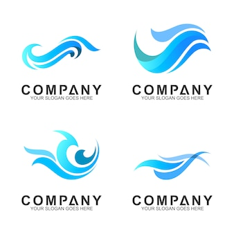 Simple wave logo set